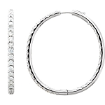 Diamond Hoops 1.50 Ct Natural Certified Solid White Gold Earrings