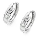 White Gold Hoop Earrings 0.50 Ct Diamond Anniversary