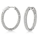 Small Hoop Earrings 3.50 Ct Diamond Natural Certified Solid White Gold