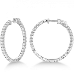 Diamond hoops Earrings 2.25 Ct Natural Certified Solid White Gold