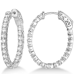 Large Hoop Earrings 2.00 Ct Diamond  Natural Certified Solid White Gold