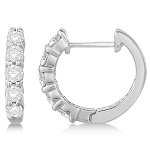 Hoops Diamond Earrings 1.00Ct Natural Certified Solid White Gold