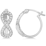 Hoop Earrings 0.75 Ct Diamond Natural Certified Solid White Gold