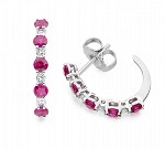 Diamond hoops Earrings 0.40 Ct Ruby Natural Certified Solid Gold