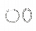 White Gold Hoop Earrings 1.00 Ct Diamond Anniversay Gift