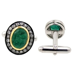 Vintage Cufflinks 0.80 Ct Natural Certified Diamond 0.80 Ct Emerald 925 Sterling Silver Weekend