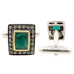 Antique Cufflinks 1.00 Ct Uncut Natural Certified Diamond 0.80 Ct Emerald Special Occasion