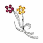 Bridal Brooch 0.65 Ct Gemstone 0.50 Ct Solid White Gold Fine Jewelry Natural Certified