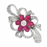 Diamond Brooch 1.00 Ct Ruby 0.60 Ct Solid White Gold Fine Jewelry Natural Certified