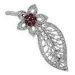 Bridal Brooches 1.55 Ct Ruby 0.35 Ct  solid White Gold Fine Jewelry Natural Certified
