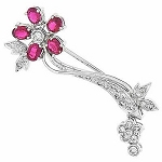 Wedding Brooches 0.70 Ct Ruby 0.50 Ct solid White Gold Fine Jewelry Natural Certified