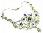 Vintage Diamond Necklace 4.00 Ct Natural Certified Diamond B.Sapphire 925 Sterling Silver Festive