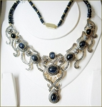 Vintage Style Necklaces 6.85 Ct Natural Certified Diamond Blue Sapphire 925 Sterling Silver Weekend