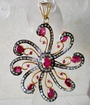 Antique Pendants 2.72 Ct Natural Certified Diamond 2.50 Ct Ruby 925 Sterling Silver Everyday