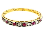 Victorian Bangle 2.25 Ct Uncut Natural Certified Diamond 4.20 Ct Ruby 925 Sterling Silver Office Wear