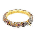 Polki Bangles 7.45 Ct Uncut Natural Certified Diamond 1.10 Ct Ruby 925 Sterling Silver Anniversary