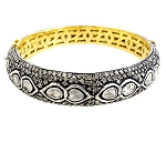 Uncut Diamond Bangles 4.05 Ct Uncut Natural Certified Diamond 925 Sterling Silver Wedding