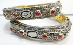 Rose Cut Diamond Bangle 11.45 Ct Uncut Natural Certified Diamond 4.20 Ct Ruby 925 Sterling Silver Festive