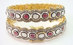 Antique Diamond Bangle 8.00 Ct Uncut Natural Certified Diamond 2.20 Ct Ruby 925 Sterling Silver Weekend