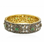 Antique Diamond Bangle 15.40 Ct Uncut Natural Certified Diamond 4.00 Ct Emerald 925 Sterling Silver Wedding