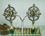 Uncut Earrings 1.30 Ct Natural Certified Diamond Emerald 925 Sterling Silver Weekend