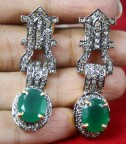 Rose Cut Earrings 2.02 Ct Natural Certified Diamond Emerald Festive