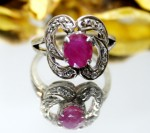 Victorian Rings 0.30 Ct Natural Certified Diamond Ruby 925 Sterling Silver Festive