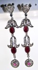 Victorian Drop Earrings 1.22 Ct Natural Certified Diamond Ruby.Sapphire 925 Sterling Silver Anniversary