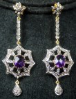Victorian Drop Earrings 2.35 Ct Diamodnd Amethyest Chandelier Special Occasion