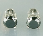 Black Diamond Engagement Studs 6.86 Ct Round Shape  Diamond Sterling Silver Wedding
