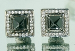 Black Diamond Earrings 1.79 Ct Black & White  Diamond Princess Shape Sterling Silver