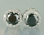 Enhanced Black Diamond Studs 2.72 Ct Black & White  Diamond Round Shape Sterling Silver