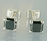 Artistry Black Diamond Studs 0.68 Ct  Diamond Princess Shape Sterling Silver