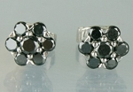Cheap Black Diamond Wedding Studs 0.88 Ct  Diamond Round Shape Sterling Silver