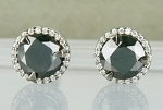 Black diamond Wedding Studs 3.33 Ct Black & White  Diamond Round Shape Sterling Silver