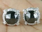 Black Diamond Earrings Studs 8.20 Ct  Black & White Diamond Round Shape Sterling Silver