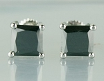 Black and White Diamond Wedding Studs 3.86 Ct  Diamond Princess Shape Sterling Silver