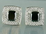 Black diamond Wedding Studs 5.12 Ct Black & White  Diamond Round Shape Sterling Silver