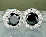 Black Stone Engagement Studs 3.88Ct Black & White  Diamond Round Shape Sterling Silver
