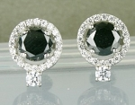 Black diamond Wedding Earrings 3.64 Ct Black & White  Round Diamond Sterling Silver Solitaire