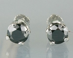 Black diamond Wedding Earrings 2.32 Ct  Round Diamond Sterling Silver Wedding