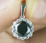 Black Diamond Engagement Pendant 2.04 Ct Black & White Diamond Round Shape Sterling Silver Wedding Pendant
