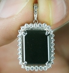Black Diamond Pendant 6.90 Ct Black & White Diamond Round Shape Sterling Silver Wedding Pendant