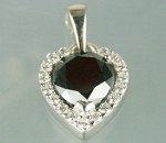 Black Diamonds Pendant 2.00 Ct Black & White Diamond Round Shape Sterling Silver Wedding Pendant