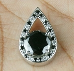 Artistry Black Diamond Pendant 2.23 Ct  Black & White Round Diamond Sterling Silver Solitaire Pendant