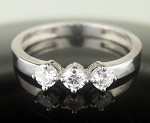 Ring Design 0.93 Ct White Round Diamond Sterling Silver Wedding 3 Stone