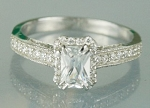 Solitaire diamond Ring 1.88 Ct Emerald White Diamond Round Shape Sterling Silver Wedding