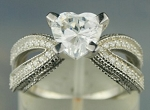 Diamond Ring Design 3.66 Ct Heart Diamond Sterling Silver Solitaire Wedding