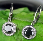 Enhanced Black Diamond Earrings 3.41 Ct  Black & White Diamond Round Shape Sterling Silver Wedding