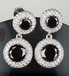 Black Diamonds Earriings 7.14 Ct  Black & White  Diamond Round Shape Sterling Silver